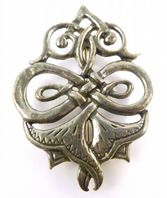 Vintage Large Pewter Double Bell Flower Ornate Brooch.